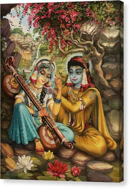 Hinduism Canvas Print - Radha Playing Vina by Vrindavan Das