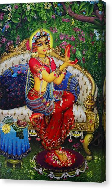 Flutes Canvas Print - Radha With Parrot by Vrindavan Das