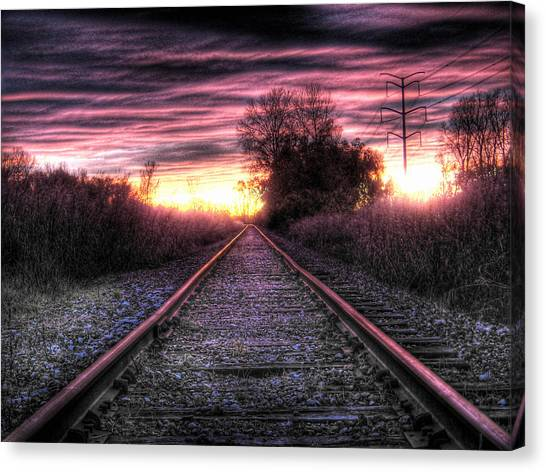 Light Rail Canvas Print - Radiant Orchid by Jane Linders