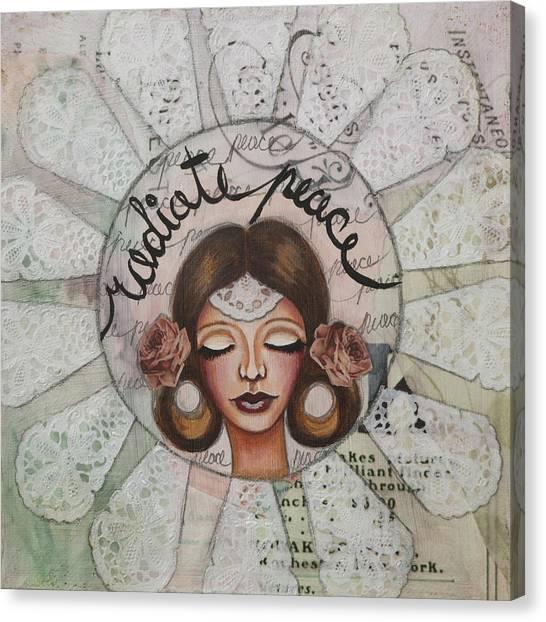 Radiate Peace Inspirational Mixed Media Folk Art  Canvas Print