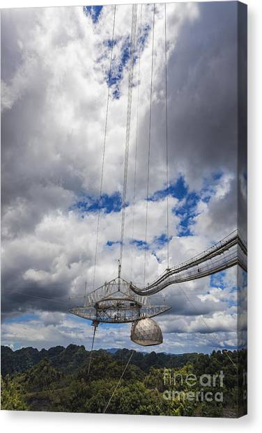 Canvas Print featuring the photograph Radio Telescope At Arecibo Observatory In Puerto Rico by Bryan Mullennix