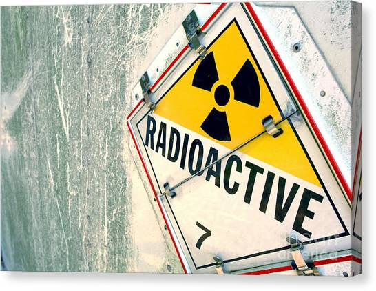 Placard Canvas Print - Radioactive Warning Sign by Olivier Le Queinec