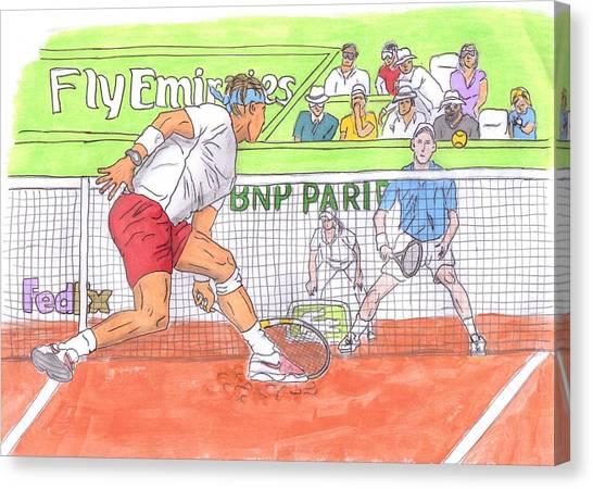 Novak Djokovic Canvas Print - Rafa Vs. Novak by Steven White