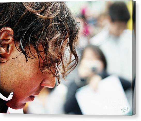 Rafael Nadal Canvas Print - Rafael Nadal From Up Close by Nishanth Gopinathan
