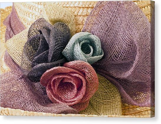 Raffia Roses Macro Canvas Print