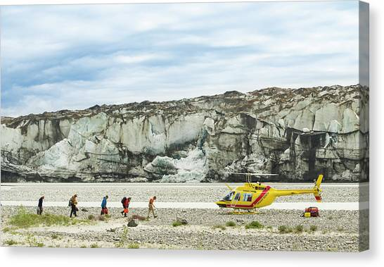 Yukon Canvas Print - Rafters Loading Helicopter by Josh Miller Photography