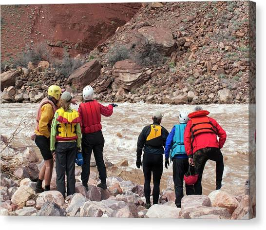 Scouting Canvas Print - Rafters Scouting Rapids by Jim West