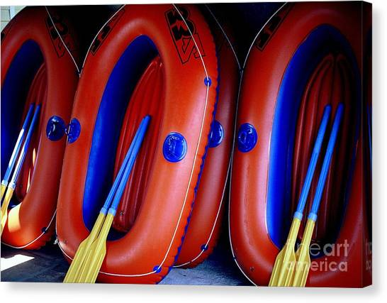 Rafts Waiting Canvas Print