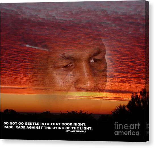 Mike Tyson Canvas Print - Rage Rage Against The Dying Of The Light by Jim Fitzpatrick