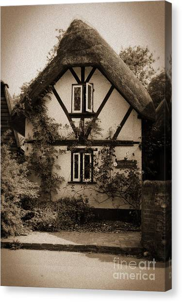 Rags Corner Cottage Nether Wallop Olde Sepia Canvas Print
