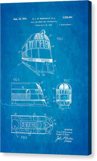 Ragsdale pioneer zephyr train 3 patent art 1941 blueprint photograph ragsdale pioneer zephyr train 3 patent art 1941 blueprint canvas print by ian monk malvernweather Gallery