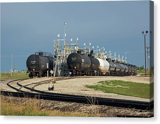 Climate Change Canvas Print - Rail Cars Carrying Lpg by Jim West