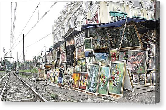 Rail Child And Painting Canvas Print by Achmad Bachtiar
