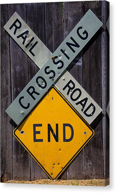Bullet Trains Canvas Print - Rail Road Crossing End Sign by Garry Gay