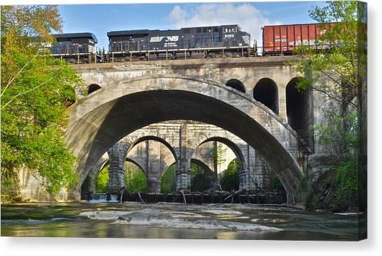 Amtrak Canvas Print - Railroad Bridges by Frozen in Time Fine Art Photography