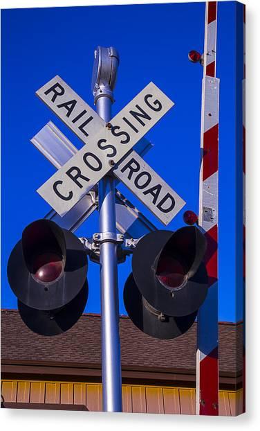Vintage Railroad Canvas Print - Railroad Crossing by Garry Gay