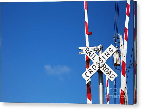 Caution Canvas Print - Railroad Crossing Sign by Jane Rix