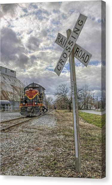 Trainspotting Canvas Print - Railroad Crossing With Engine 414 by Jason Politte