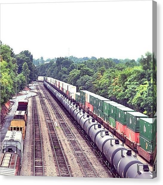 Freight Trains Canvas Print - #railroad #railway #trains #tracks by Kim Schumacher