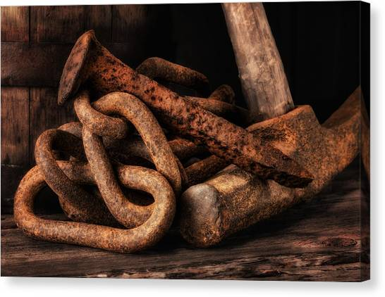 Rusty Canvas Print - Railroad Spike Still Life by Tom Mc Nemar