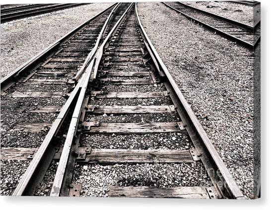 Spurs Canvas Print - Railroad Switch by Olivier Le Queinec
