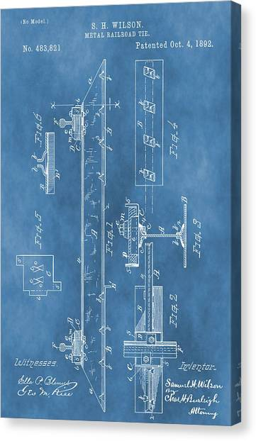 Train Conductor Canvas Print - Railroad Tie Patent On Blue by Dan Sproul