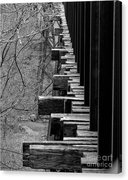 Canvas Print featuring the photograph Railroad Ties On Trestle Bridge by Kristen Fox