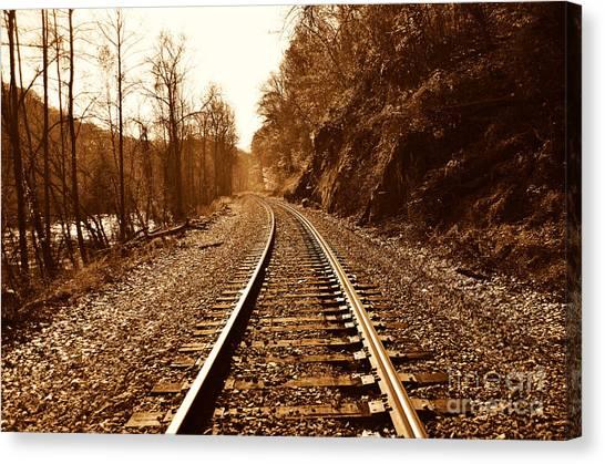 Railroad Track Canvas Print by Cheryl Boutwell