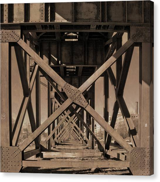 Railroad Trestle Sepia Canvas Print
