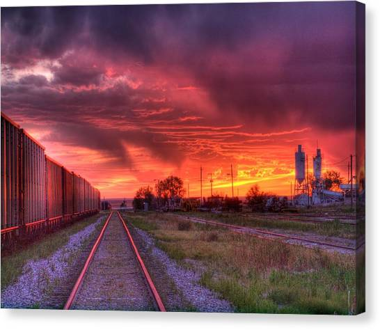 Rails To A Red Sunset Canvas Print