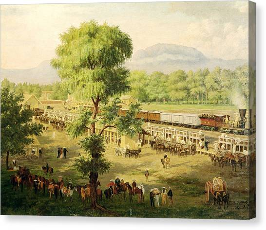 Steam Trains Canvas Print - Railway In The Valley Of Mexico, 1869 Oil On Canvas by Luiz Coto