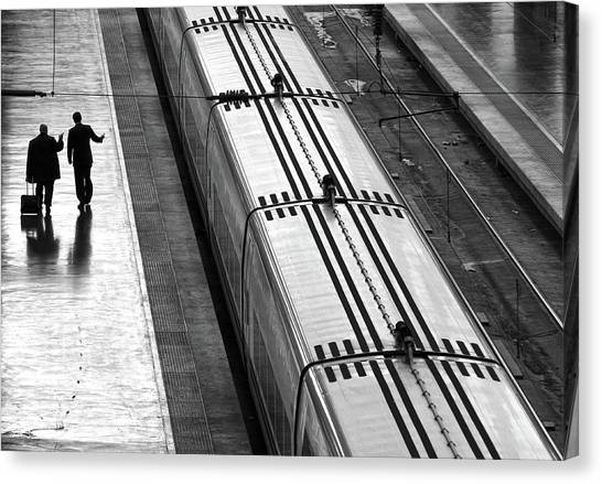 Railroads Canvas Print - Railwaystation by Marcel Van Balken