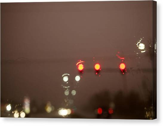 Stoplights Canvas Print - Rain Abstract 3 In Color by Toni Hopper