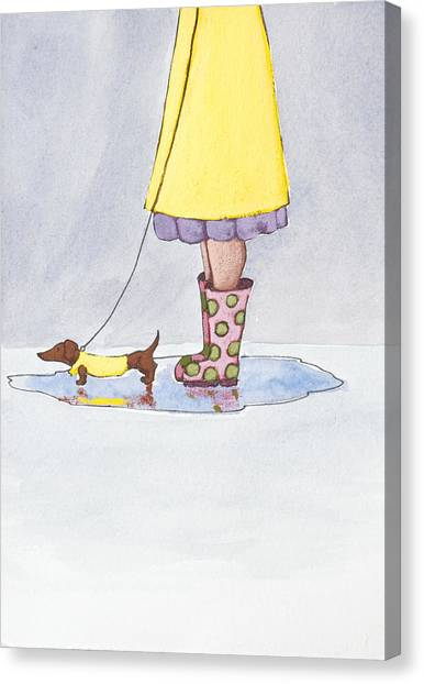 Dachshunds Canvas Print - Rain Boots by Christy Beckwith