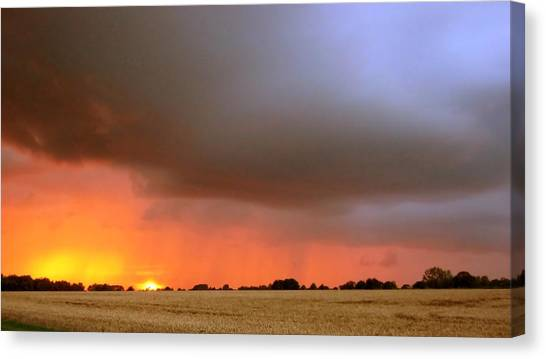Rain Burst Canvas Print by Dave Woodbridge