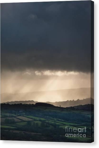Moorland Canvas Print - Rain Clouds Over Dartmoor by Jan Bickerton