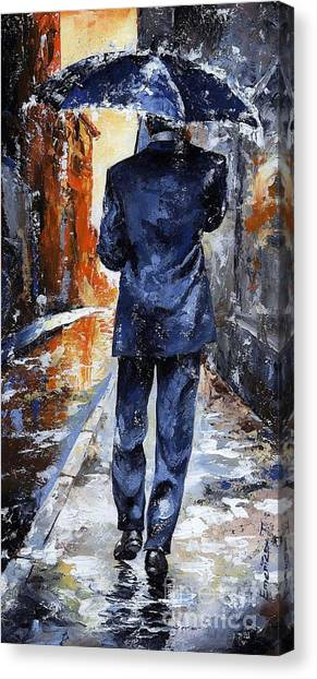 Autumn Scene Canvas Print - Rain Day #20 by Emerico Imre Toth