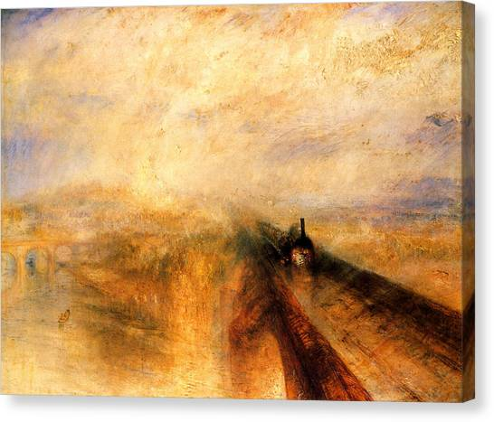 Trains Canvas Print - Rain Steam And Speed.  by J M W Turner