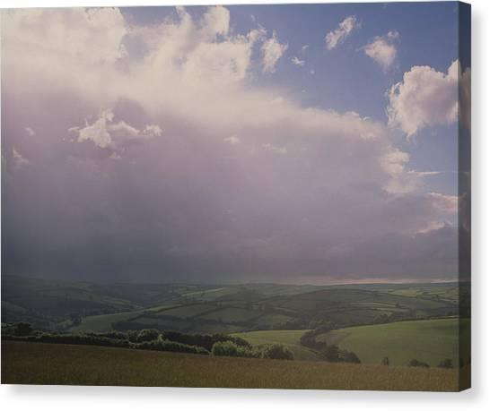 Rain Storm Over Exmoor Canvas Print by Tony Craddock/science Photo Library