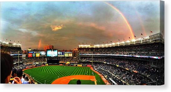 Yankee Stadium Canvas Print - Rainbow Above Yankee Stadium by Gina Concilio
