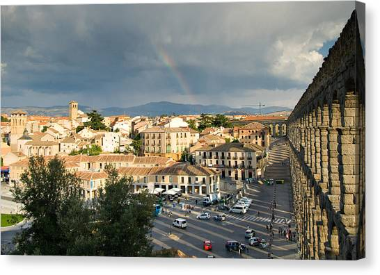 Rainbow And Ancient Aqueduct Canvas Print by Viacheslav Savitskiy