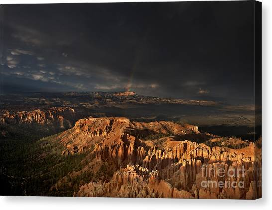 Canvas Print featuring the photograph Rainbow And Thunderstorm Over The Paunsaugunt Plateau  by Dave Welling
