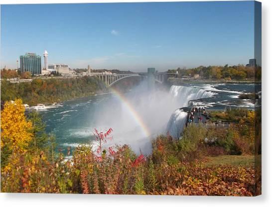 Rainbow At The American Falls Canvas Print