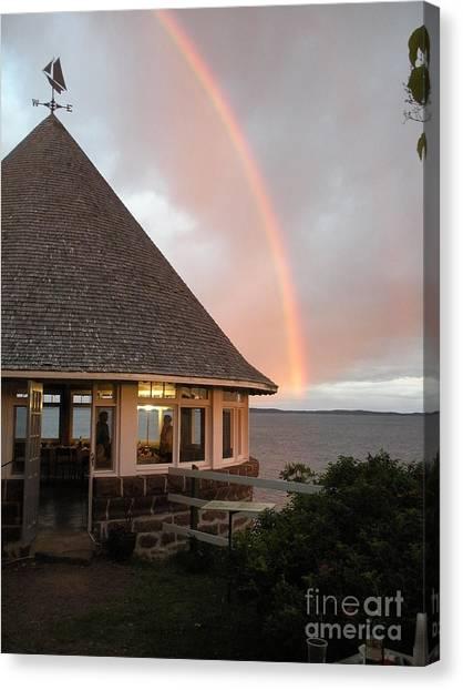 Rainbow At The Bath House Minister Island Nb Canvas Print