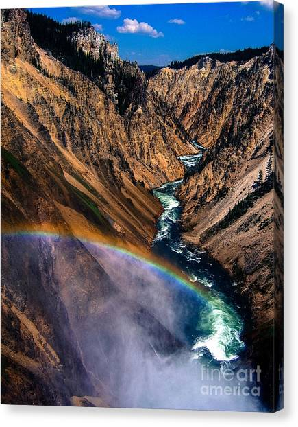 Yellowstone National Park Canvas Print - Rainbow At The Grand Canyon Yellowstone National Park by Edward Fielding