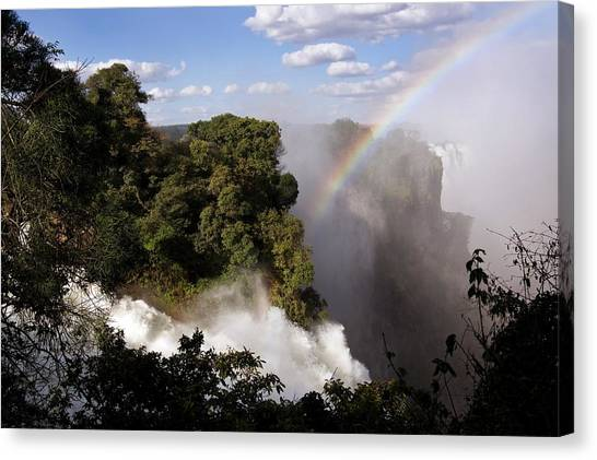 Victoria Falls Canvas Print - Rainbow At Victoria Falls by Steve Allen/science Photo Library