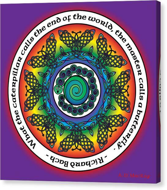 Rainbow Celtic Butterfly Mandala Canvas Print