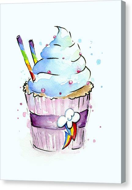 Ponies Canvas Print - Rainbow-dash-themed Cupcake by Olga Shvartsur