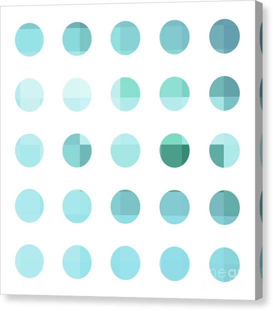 Abstract Art Canvas Print - Rainbow Dots Aqua  by Pixel Chimp