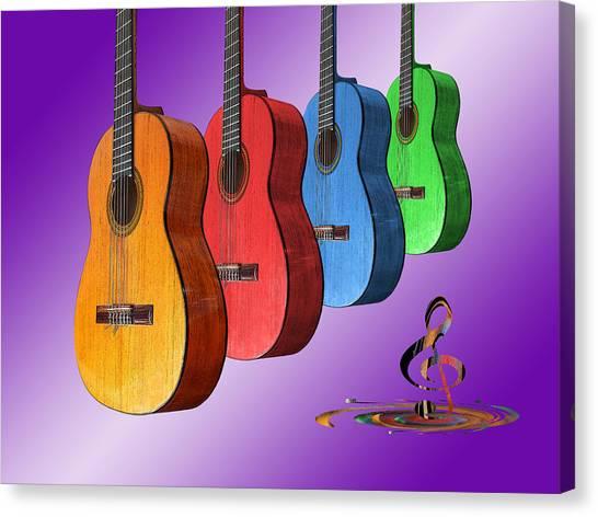 Classical Guitars Canvas Print - Rainbow Fantasia On Guitars by Gill Billington